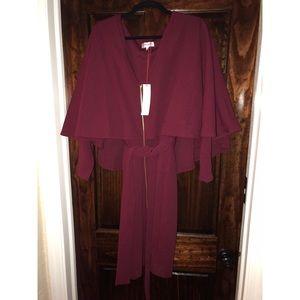 size 1x monif c wine color London cape dress
